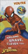 Spiderman Age 3 Today Birthday Card with Badge